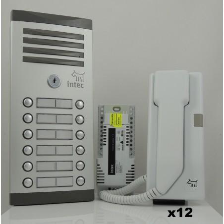 Kit 12 Citófonos Intec con Frente de Calle 8 Botones