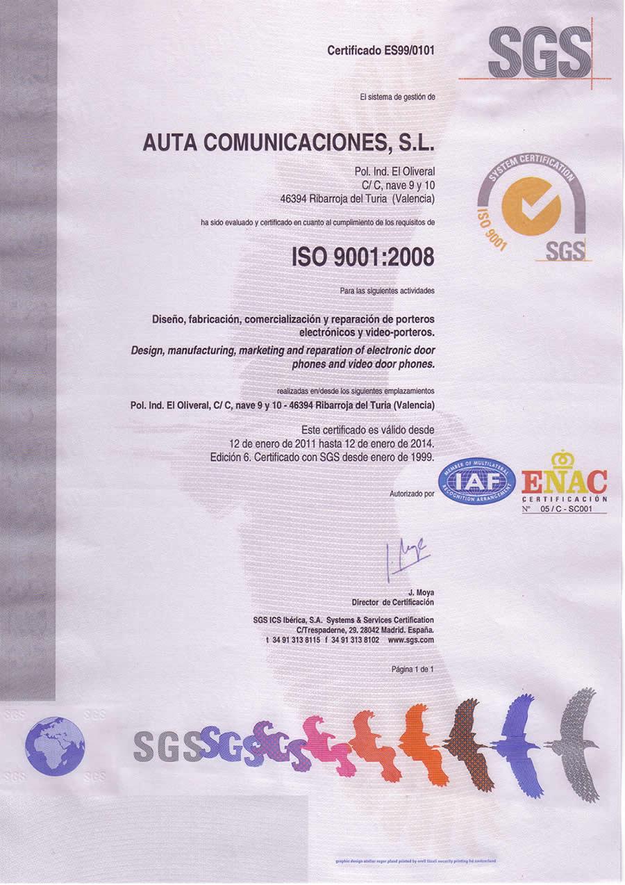 Certificación de Calidad de Auta